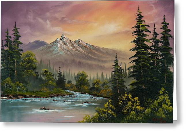 Wet Greeting Cards - Mountain Sunset Greeting Card by C Steele