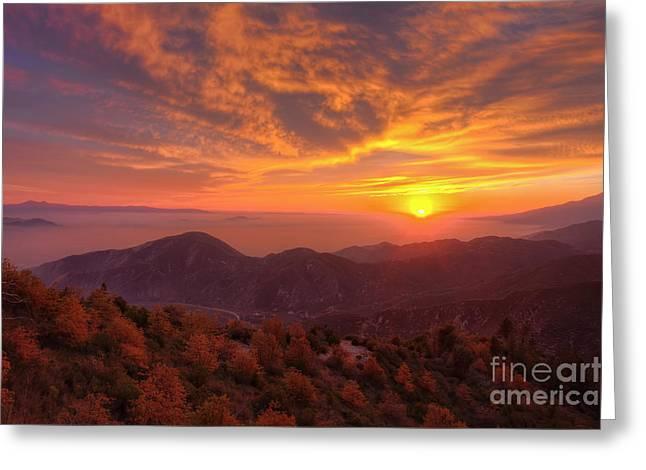 Mountain Sunset Greeting Card by Eddie Yerkish
