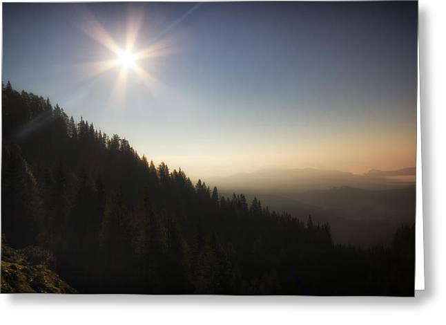 Mountain Valley Greeting Cards - Mountain Sunset Greeting Card by Ian Hufton