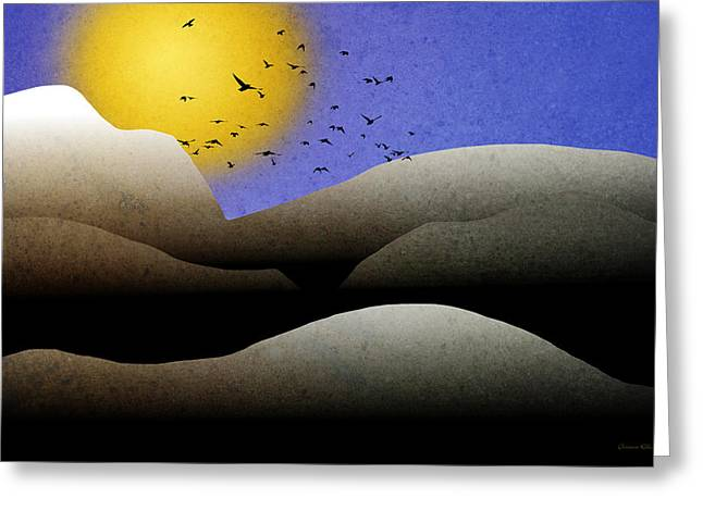 Bird Summit Greeting Cards - Mountain Sunset Landscape Art Greeting Card by Christina Rollo