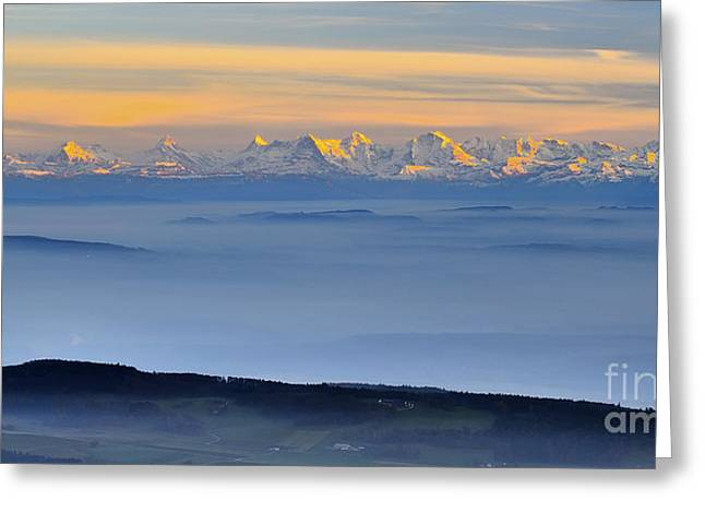Berne Canton Greeting Cards - Mountain Sunset - Swiss Alps Greeting Card by JH Photo Service