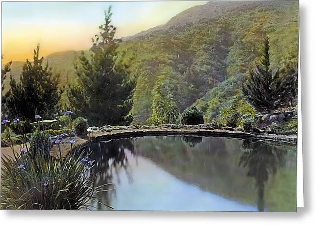 Kinkade Greeting Cards - Mountain Sunset Greeting Card by Terry Reynoldson