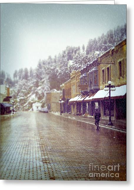 Gloomy Winter Greeting Cards - Mountain town in Winter Greeting Card by Jill Battaglia