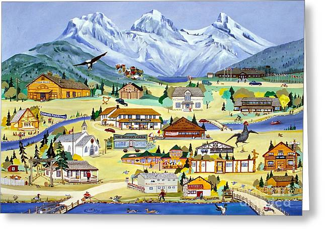 Canmore Artist Greeting Cards - Mountain Town of Canmore Greeting Card by Virginia Ann Hemingson