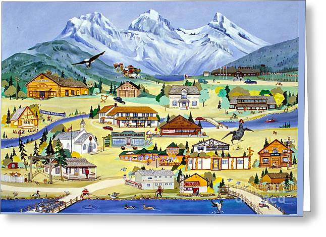 Mountain Town Of Canmore Greeting Card by Virginia Ann Hemingson