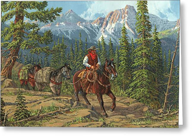 Arizona Cowboy Greeting Cards - Mountain Traveler Greeting Card by Randy Follis