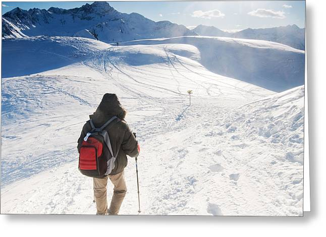 Snowy Day Greeting Cards - Mountain trekking Greeting Card by Michal Bednarek