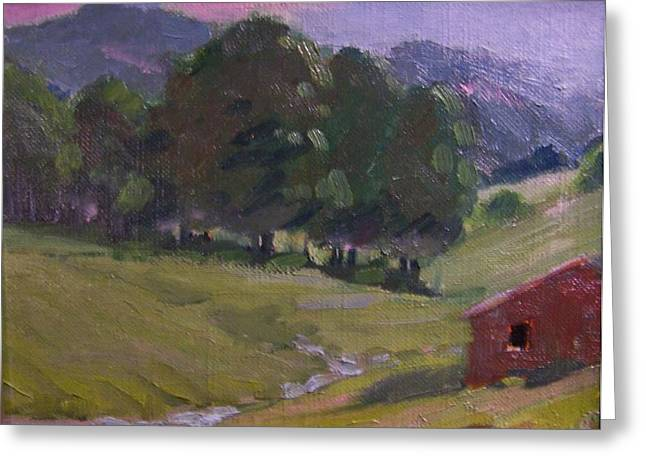 Fairy Painter Greeting Cards - Mountain Valley Greeting Card by Dan Smart