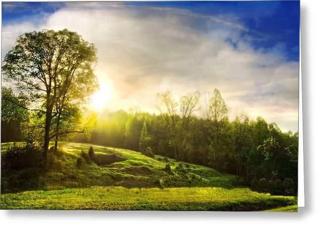 Mountain Valley Greeting Card by Debra and Dave Vanderlaan
