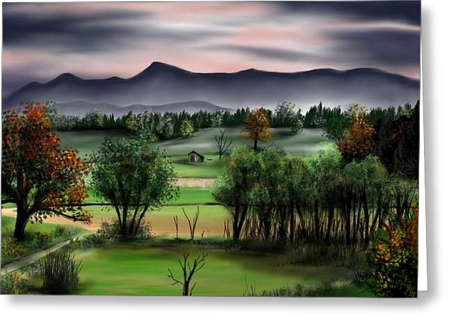 Sketchbook Greeting Cards - Mountain Valley Greeting Card by Ron Grafe