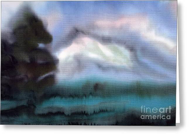 Dyes On Silk Greeting Cards - Mountain View Greeting Card by Addie Hocynec