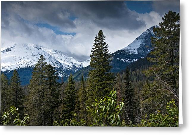 Montana Landscapes Photographs Greeting Cards - Mountain view at Glacier National Park Photo No. 3024 Greeting Card by Randall Nyhof