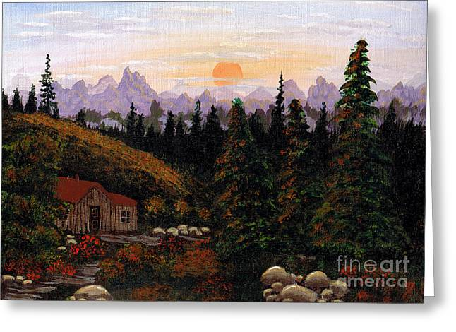 Mountain Cabin Greeting Cards - Mountain View Greeting Card by Barbara Griffin