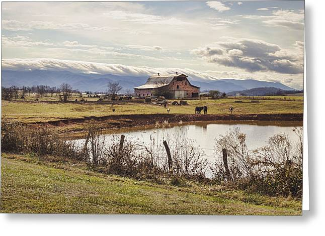 Mountain View Barn Greeting Card by Heather Applegate