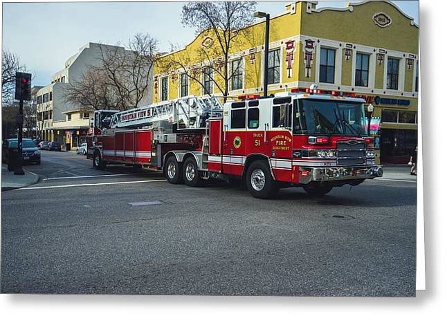 Emergency Vehicle Greeting Cards - Mountain View CA FD Truck 51 Greeting Card by Mountain Dreams