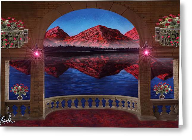 Reflections In River Digital Art Greeting Cards - Mountain View Greeting Card by Michael Rucker