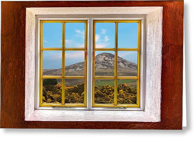 Cabin Window Greeting Cards - Mountain View Greeting Card by Semmick Photo