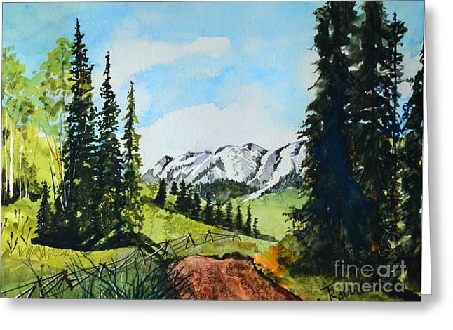 Terri Waters Paintings Greeting Cards - Mountain View Greeting Card by Terri Robertson