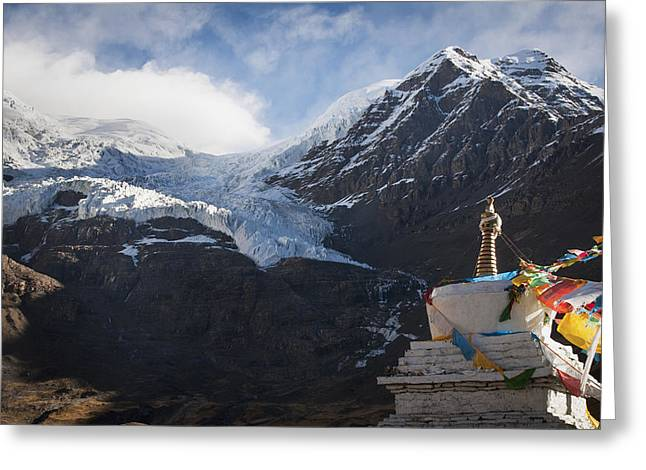 Tibetan Buddhism Greeting Cards - Mountain View With Part Of Stupa Tibet Greeting Card by Alex Adams
