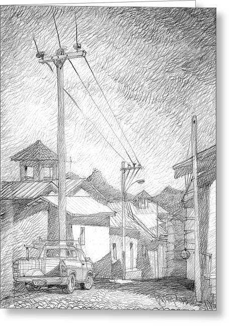 Pueblo Drawings Greeting Cards - Mountain Village. Greeting Card by Serge Yudin