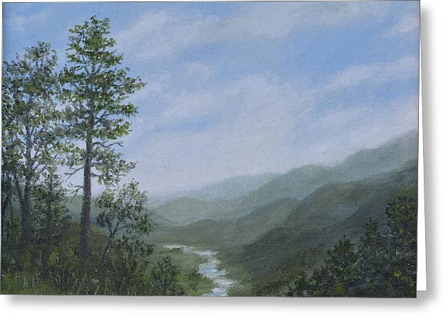 Smokey Mountains Paintings Greeting Cards - Mountain Vista 1 by K. McDermott Greeting Card by Kathleen McDermott