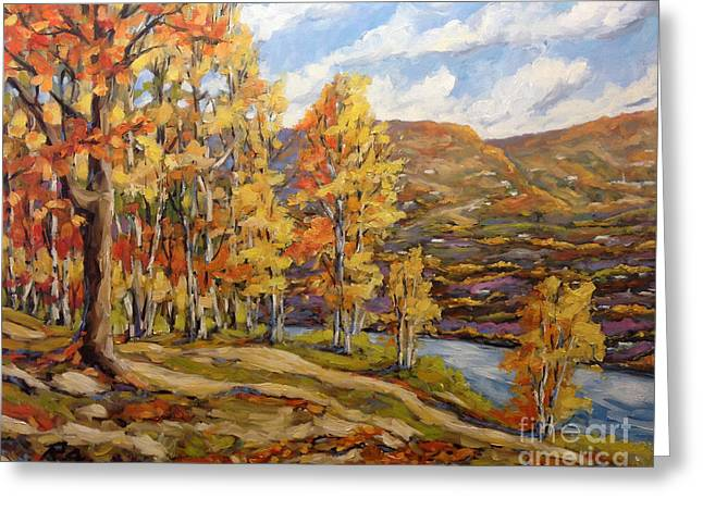 Quebec Paintings Greeting Cards - Mountain Vista by Prankearts Greeting Card by Richard T Pranke