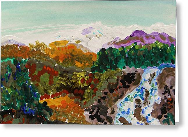 Mcw Greeting Cards - Mountain Water Greeting Card by Mary Carol Williams
