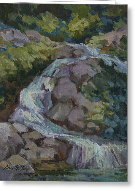Waterfalls Paintings Greeting Cards - Mountain Waterfall Greeting Card by Diane McClary