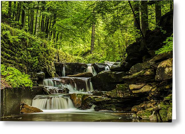 Beautiful Creek Greeting Cards - Mountain waterfall Greeting Card by Jaroslaw Grudzinski