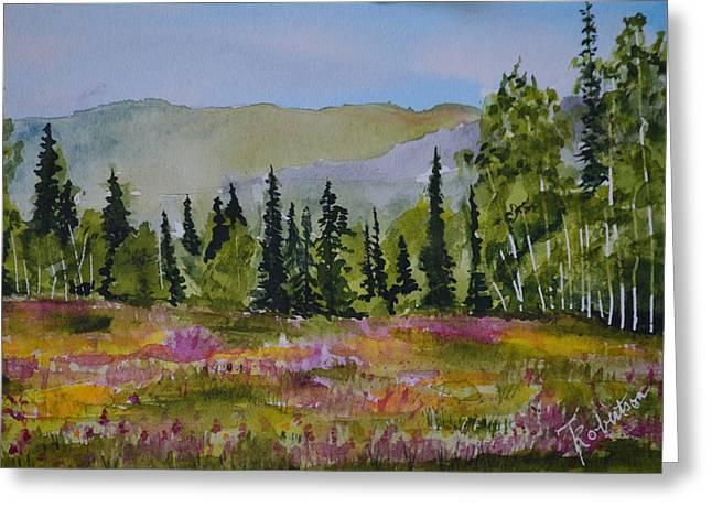 Terri Waters Paintings Greeting Cards - Mountain Wildflowers Greeting Card by Terri Robertson
