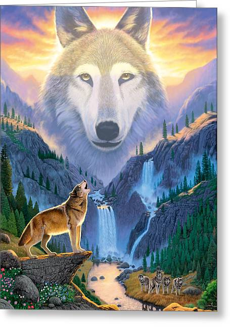 Howl Greeting Cards - Mountain Wolf Greeting Card by Chris Heitt