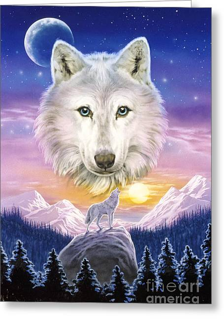 Wolf Moon Greeting Cards - Mountain Wolf Greeting Card by Robin Koni