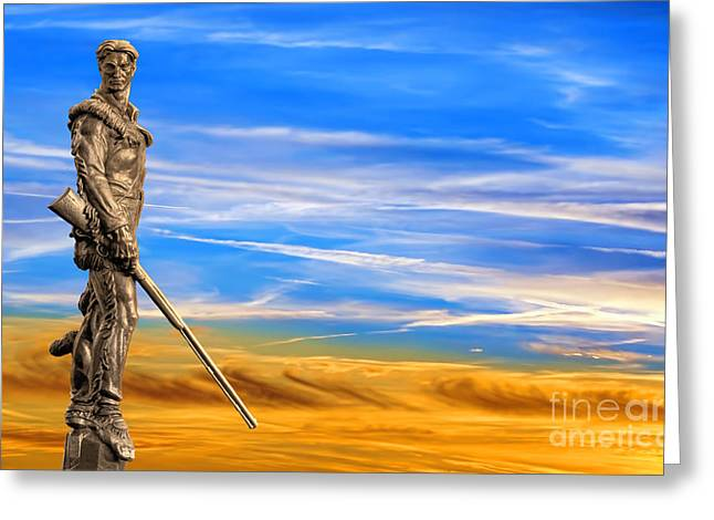 Mountaineer Statue With Blue Gold Sky Greeting Card by Dan Friend