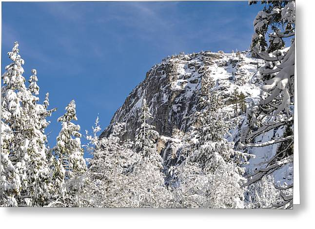Tahoe National Forest Greeting Cards - Mountaineering Cliff Climbing Destination Lovers Leap near Lake Greeting Card by Brandon Bourdages