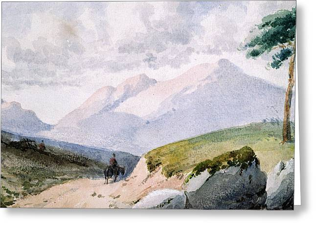 Pines Greeting Cards - Mountainous Landscape Greeting Card by John Ruskin