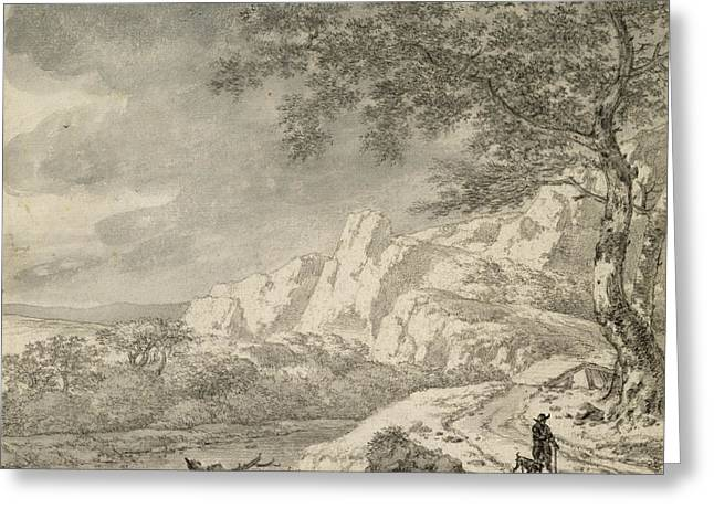 Dog Walking Greeting Cards - Mountainous Landscape With A Hiker Chalk And Indian Ink On Paper Greeting Card by Herman Nauwincz