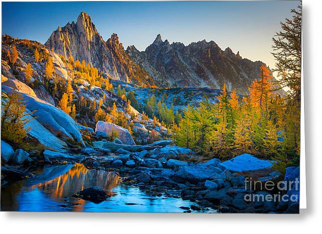 Reflecting Greeting Cards - Mountainous Paradise Greeting Card by Inge Johnsson