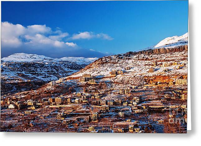 Eco-village Greeting Cards - Mountainous town in winter Greeting Card by Anna Omelchenko