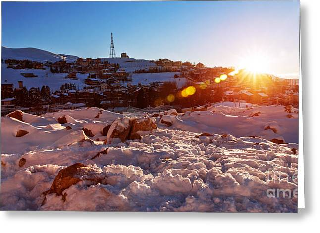 Eco-village Greeting Cards - Mountainous village in sunset Greeting Card by Anna Omelchenko