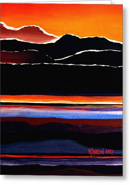 Karon Greeting Cards - Mountains Abstract Greeting Card by Karon Melillo DeVega