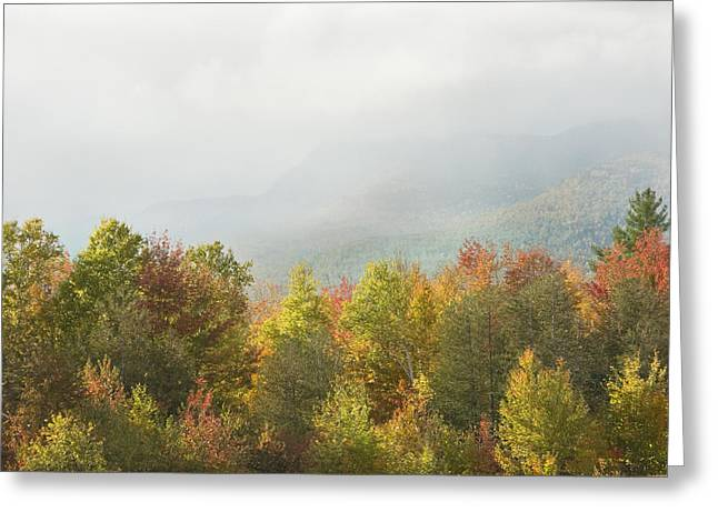 Maine Landscape Greeting Cards - Mountains and Rain Storm In Fall Mount Blue State Park Weld  Greeting Card by Keith Webber Jr