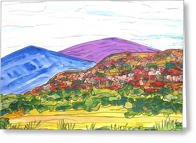 Mountains And South Mesa Greeting Card by Kerry Bennett
