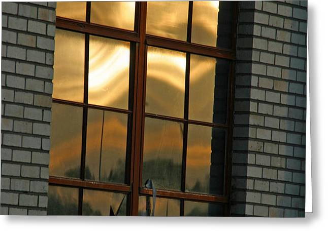 Mountains and Sun in Window Greeting Card by Emily Clingman