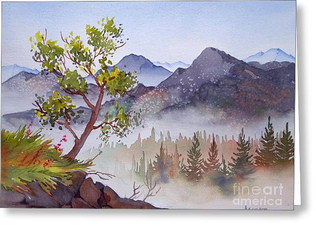 Sienna Greeting Cards - Mountains and Woodland Greeting Card by Teresa Ascone