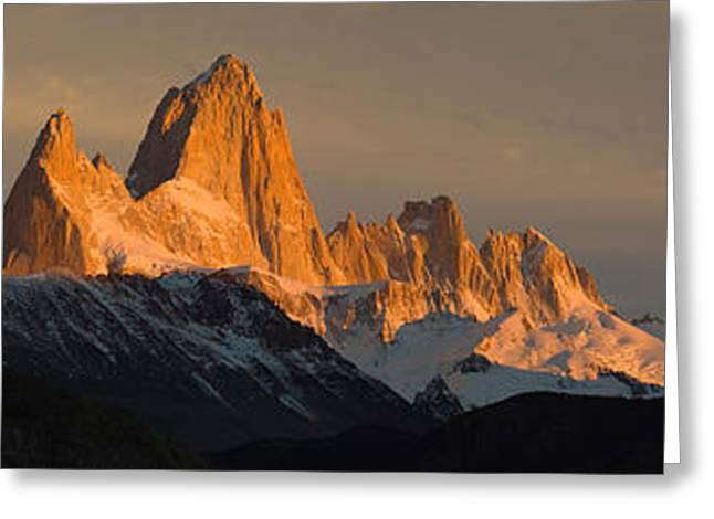 Mountain Greeting Cards - Mountains At Sunset, Mt Fitzroy, Cerro Greeting Card by Panoramic Images