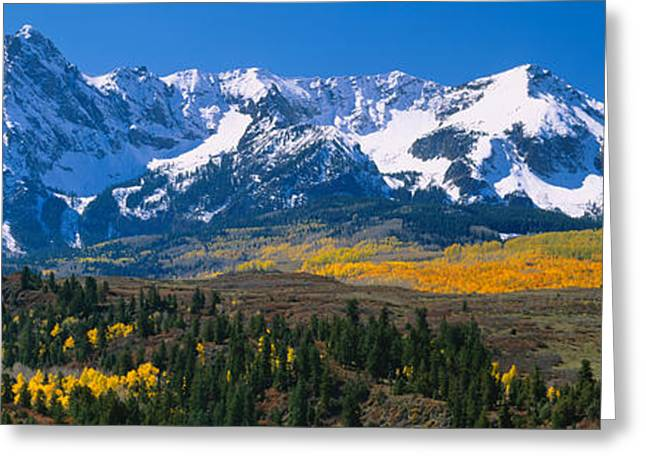 Mountain Greeting Cards - Mountains Covered In Snow, Sneffels Greeting Card by Panoramic Images
