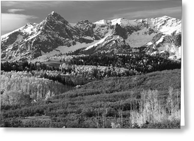Fall Scenes Greeting Cards - Mountains Covered With Snow And Fall Greeting Card by Panoramic Images