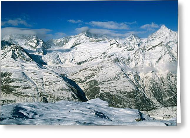 Mountain Greeting Cards - Mountains Covered With Snow Greeting Card by Panoramic Images