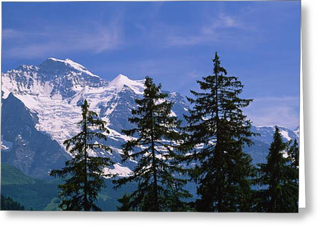 Best Sellers -  - Swiss Photographs Greeting Cards - Mountains Covered With Snow, Swiss Greeting Card by Panoramic Images