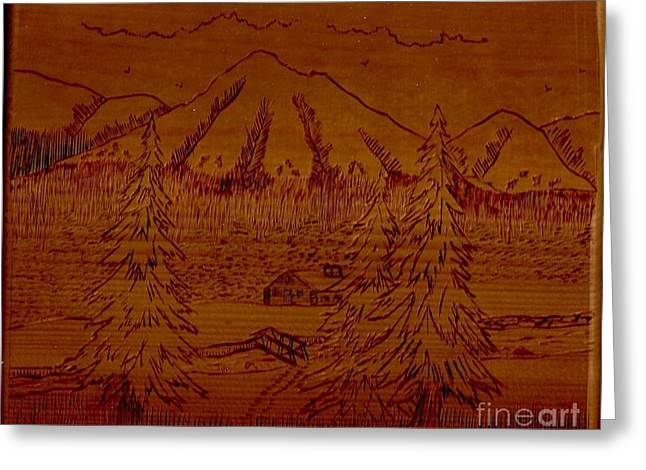 Mountain Cabin Mixed Media Greeting Cards - Mountains Greeting Card by Diana Hoesly